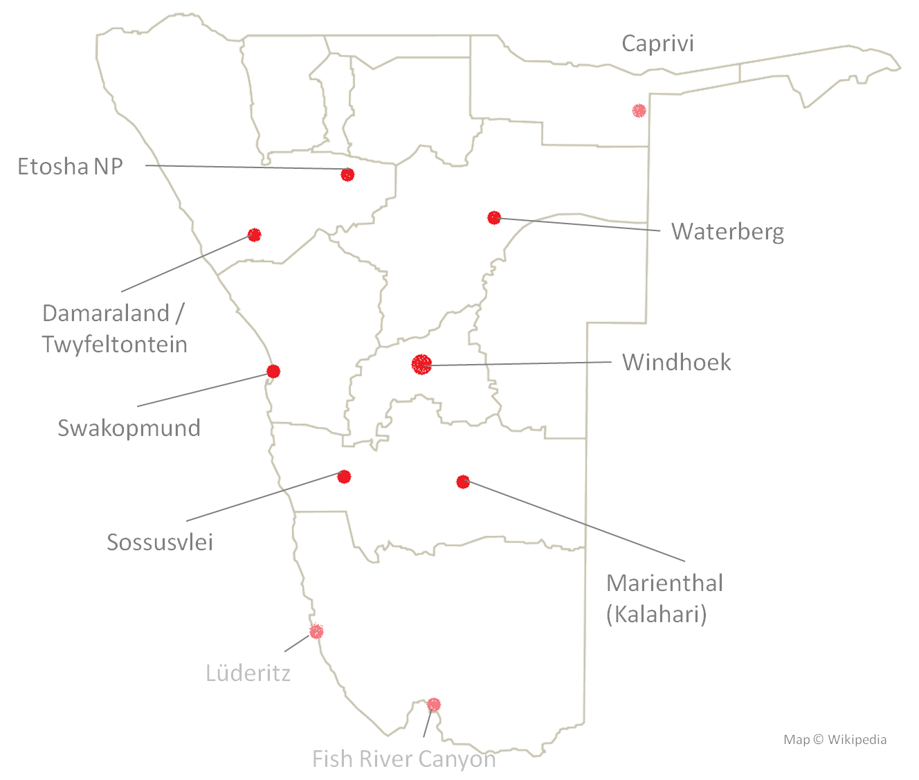 Namibia Map Tour Stops