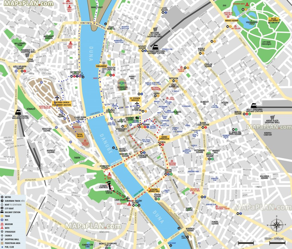 Budapest top tourist attractions printable map